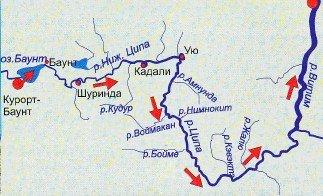650 км по озеру Баунт, рекам Нижней Ципе и Ципе
